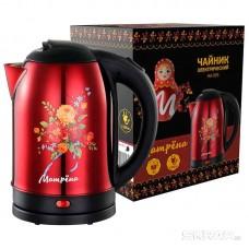 Чайник МАТРЁНА MA-005 электрический (2,0 л) стальной красный хохлома
