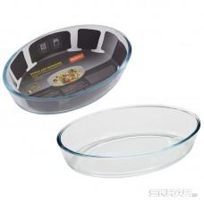 Форма для запекания из боросил стекла 1,6 л, овальной формы без ручек, серия Cristallino, тм Mallony