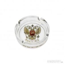 Пепельница круглая d-10,6 см, Герб России стекло