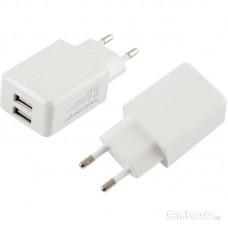 Сетевое зарядное устройство Energy ET-08, 2 USB разъема, цвет - белый