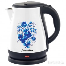 Чайник МАТРЁНА MA-003 электрический (1,7 л) стальной белый гжель