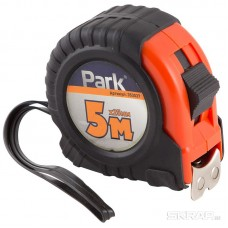Рулетка Park с фиксатором, прорезиненный корпус, магнитный зацеп, 5м*25мм TM37-5025