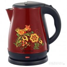 Чайник МАТРЁНА MA-003 электрический (1,7 л) стальной бордовый хохлома