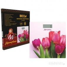 Весы напольные электронные МАТРЁНА МА-090 тюльпаны (стеклянная поверхность, 180 кг)