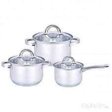 Набор посуды из нерж стали из 6 пред-в, MEDIANO-SET-6 (ковш1,9л/кастрюли - 2,6 и 3,6 л), тм Mallony