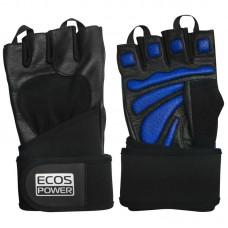 Перчатки для фитнеса 2006-BL, цвет: черный+синий, размер: L