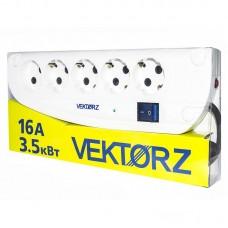 Фильтр сетевой VEKTOR Z, 4 роз. c/з, + 1 роз б/з,  5,0м (3,5кВт, 16А)