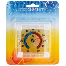 Термометр оконный биметаллический, квадратный ТББ на блистере