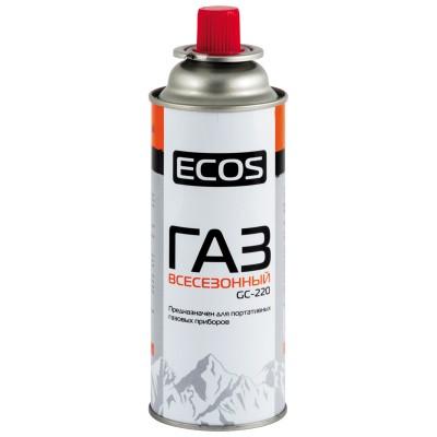 Газ Экос GC-220 в баллоне портативном (цанговый, 220 г, Россия), всесезонный