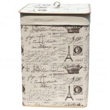 Корзина для белья складная с крышкой и декоративным покрытием из натурального льна, BLB-08-S, р-р 35*35*50см