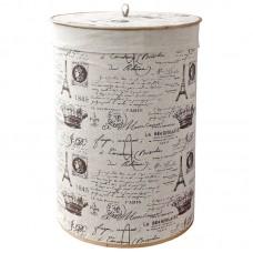 Корзина для белья складная круглая с крышкой и декоративным покрытием из натурального льна, BLB-08-R р-р 35*50