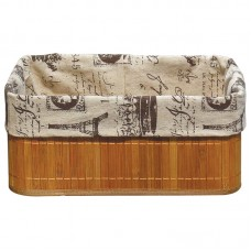 Бамбуковая корзинка с покрытием из натурального льна (каркас: стальной прут) BLB-09-1, р-р 38*28*16