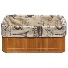 Бамбуковая корзинка с покрытием из натурального льна (каркас: стальной прут) BLB-09-2, р-р 32*23*14