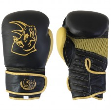 Перчатки боксерские детские BG-2574BG-8, 8 унций, Кожа, цвет: Черный с золотом