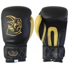 Перчатки боксерские детские из кожи BG-2577B-8, 8 унций, цвет: Черный с золотом