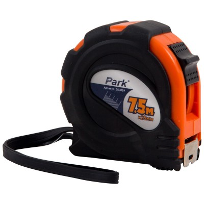 Рулетка Park с фиксатором, прорезиненный корпус, 7,5x25мм TM29-7525