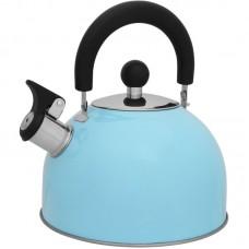 Чайник из нержавеющей стали Mallony MAL-039-A, (2,5 литра, голубой, со свистком)