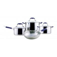 Набор посуды из 7 предметов PKS7-03 с силик.ручками (ковш-16см, 2кастр.-20, 24см, сковорода-24см)