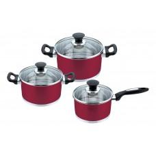 Набор посуды из 6 предметов  PKS6-01W, бордовый цвет, (ковш -16см, 2 кастрюли: 20, 24см)