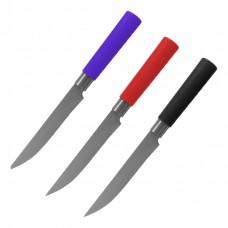 Нож (универсальный) с пластиковой ручкой, (цвет ручки - микс в коробке: черный, синий, красный) Mallony MAL-05P-MIX