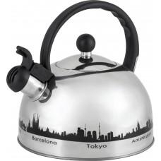 Чайник из нержавеющей стали с рисунком, меняющим цвет Mallony MAL-CITY-01  (3,0 литра, со свистком, капсульное дно)
