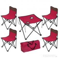 Набор складной (стол и четыре стула) в чехле TD-10 (темно-вишневый)