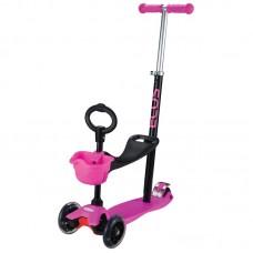 Самокат детский 4-колесный (3 в 1) ES-M001A-розовый