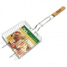 """Решетка для барбекю PARK-22001 глубокая со """"стопами"""" (Хромированная, размер: 22 x 22 x 5см )"""