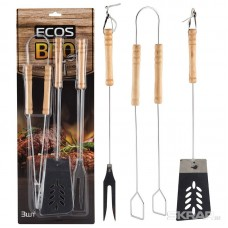 Набор для барбекю ECOS ND-1095D ( щипцы 39 см, вилка 39 см, лопатка 39 см, нерж. сталь, дерево)