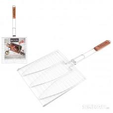 Решетка для барбекю ECOS RD-117W (рыбная, 3 секции, р-р 28х28х1,5см, общая длина 63 см, хром.)