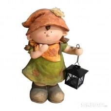 Фигурка садовая «Девочка с фонариком» GK-G-02, материал: магнезия, размеры: 23*17*41,5 см