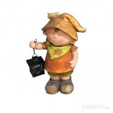 Фигурка садовая «Мальчик с фонариком» GK-B-02, материал: магнезия, размеры: 23*17*41,5 см