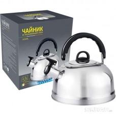 Чайник из нерж стали со свистком Casual, зерк полировка, литраж - 2,7 л, без тм