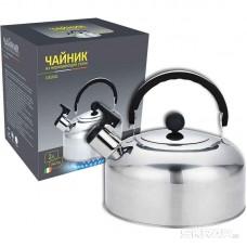 Чайник из нерж стали со свистком Casual, зерк полировка, литраж - 2 л, без тм