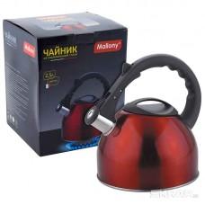 Чайник из нержавеющей стали Mallony MAL-042-R, (2,5 литра, красный, со свистком)
