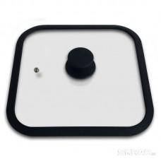 Крышка стеклянная с силиконовым ободком, серия QUADRATO, 28*28 см диа, сил ручка, тм Mallony
