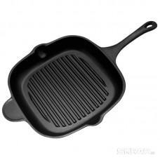 Сковорода-гриль чугунная с чугунной ручкой, квадратной формы, PADELLA, р-р 28*28 см,тм Mallony