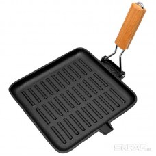 Сковорода-гриль чугунная с дерев складной ручкой, квадратной формы, PADELLA, р-р 28*28 см,тм Mallony