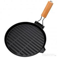 Сковорода-гриль чугунная с деревянной складной ручкой, круглая, PADELLA, диа 26 см,тм Mallony