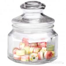 Стеклянная банка для сыпучих продуктов с фигурной стекл крышкой, LATTINA, объем: 0,3 л, тм Mallony