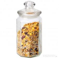 Стеклянная банка для сыпучих продуктов с фигурной стекл крышкой, LATTINA, объем: 0,9 л, тм Mallony