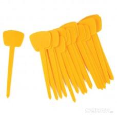 Таблички-флажки садовые PARK HG6192, 13 см (20шт/упак), цв.:желтый,белый)