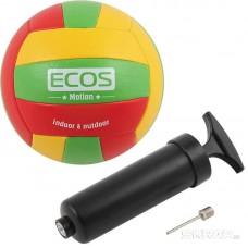 Мяч волейбольный ECOS MOTION и насос VB105P (№5, 3-цвет., машин.сшивка, ПВХ)