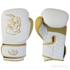 Перчатки боксерские детские из кожи BG-2574R-08 WG, 8 унций, Сумка, цвет: Белый с золотом
