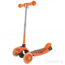 Самокат детский 3-колесный УСИЛЕННЫЙ со светящимися колесами и регулируемой высотой оранжевый